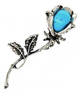 Ladies Natural Turquoise Stone Flower Shaped Brooch / Pin